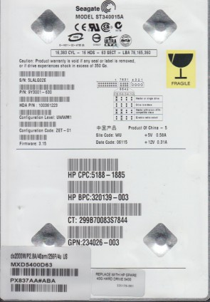 ST340015A, 5LA, WU, PN 9Y3001-630, FW 3.15, Seagate 40GB IDE 3.5 Hard Drive