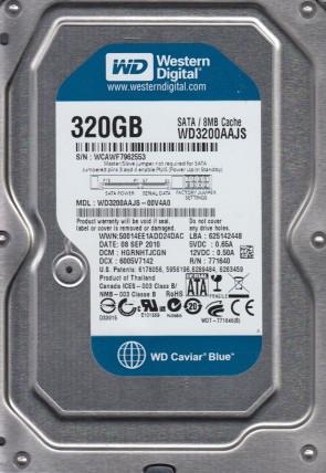 WD3200AAJS-00V4A0, DCM HGRNHTJCGN, Western Digital 320GB SATA 3.5 Hard Drive