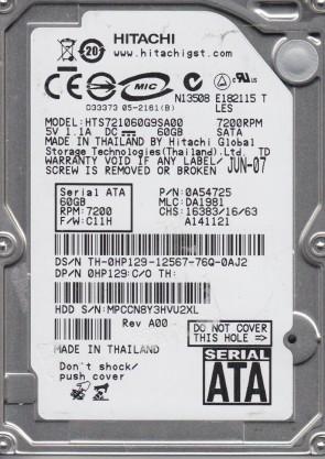 HTS721060G9SA00, PN 0A54725, MLC DA1981, Hitachi 60GB SATA 2.5 Hard Drive
