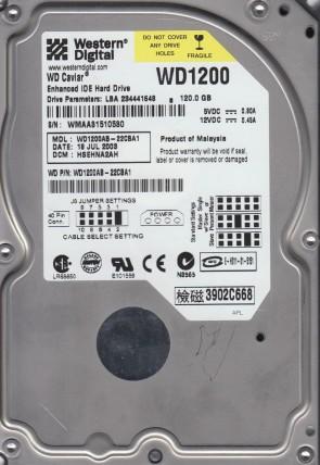 WD1200AB-22CBA1, DCM HSEHNA2AH, Western Digital 120GB IDE 3.5 Hard Drive