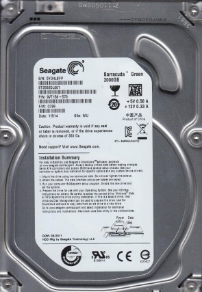 ST2000DL001, 5YD, WU, PN 9VT156-570, FW CC99, Seagate 2TB SATA 3.5 Hard Drive