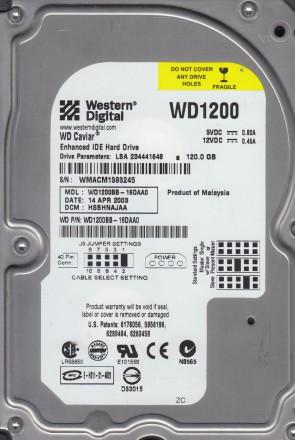 WD1200BB-16DAA0, DCM HSBHNAJAA, Western Digital 120GB IDE 3.5 Hard Drive