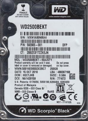 WD2500BEKT-60A25T1, DCM HECTJHB, Western Digital 250GB SATA 2.5 Hard Drive