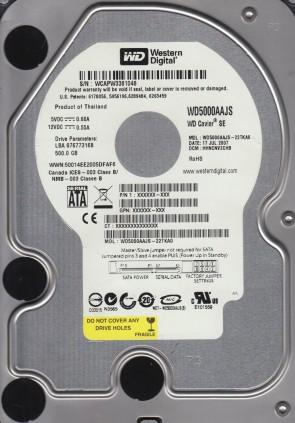 WD5000AAJS-22TKA0, DCM HHNCNV2CHB, Western Digital 500GB SATA 3.5 Hard Drive