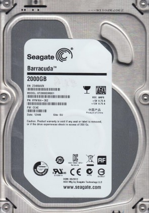 ST2000DM001, Z24, SU, PN 9YN164-302, FW CC4C, Seagate 2TB SATA 3.5 Hard Drive