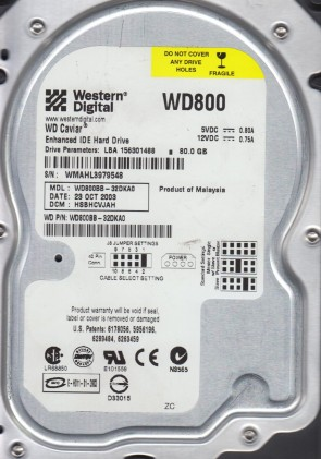 WD800BB-32DKA0, DCM HSBHCVJAH, Western Digital 80GB IDE 3.5 Hard Drive
