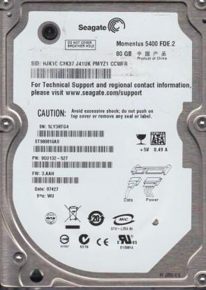 ST980816AS, 5LY, WU, PN 9CU132-527, FW 3.AAH, Seagate 80GB SATA 2.5 Hard Drive