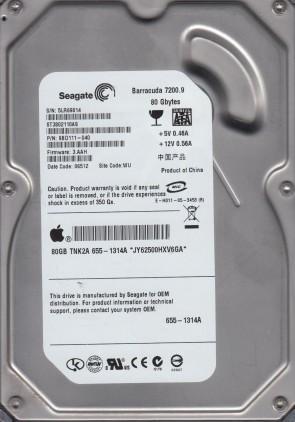ST3802110AS, 5LR, WU, PN 9BD111-040, FW 3.AAH, Seagate 80GB SATA 3.5 Hard Drive