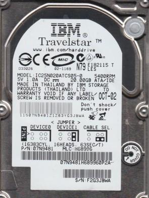 IC25N020ATCS05-0, PN 07N9481, MLC H68996, IBM 20GB IDE 2.5 Hard Drive