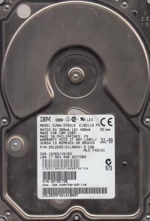 DJNA-370910, PN 25L2655, MLC F42141, IBM 9.1GB IDE 3.5 Hard Drive