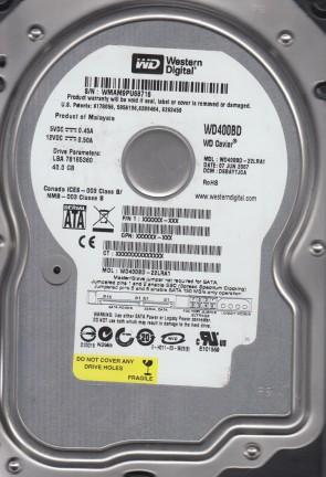 WD400BD-22LRA1, DCM DSBAYTJCA, Western Digital 40GB SATA 3.5 Hard Drive