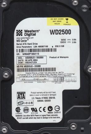 WD2500JD-00GBB0, DCM HSCHCTJCH, Western Digital 250GB SATA 3.5 Hard Drive