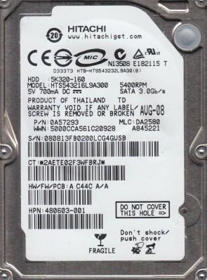 HTS543216L9A300, PN 0A57293, MLC DA2580, Hitachi 160GB SATA 2.5 Hard Drive
