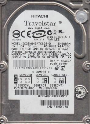 IC25N040ATCS05-0, PN 07N9482, MLC H68996, Hitachi 40GB IDE 2.5 Hard Drive
