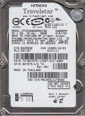 HTS548060M9AT00, PN 0A25838, MLC DA1107, Hitachi 60GB IDE 2.5 Hard Drive