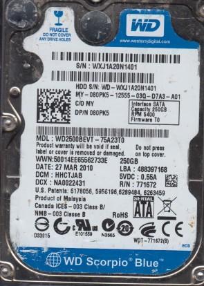 WD2500BEVT-75A23T0, DCM HHCTJAB, Western Digital 250GB SATA 2.5 Hard Drive