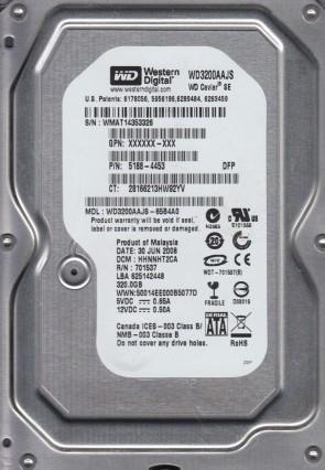 WD3200AAJS-65B4A0, DCM HHNHHT2CA, Western Digital 320GB SATA 3.5 Hard Drive