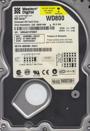 WD800BB-00CJA1, DCM HSEHNA2AH, Western Digital 80GB IDE 3.5 Hard Drive