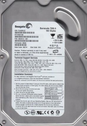 FW 8.01 Seagate 160GB IDE 3.5 Hard Drive ST3160023A WU PN 9W2084-240 5JS