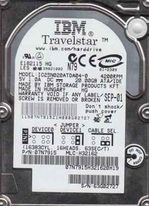 IC25N020ATDA04-0, PN 07N7915, MLC H32162, IBM 20GB IDE 2.5 Hard Drive