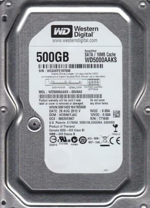 WD5000AAKS-00V6A0, DCM HCRNHTJAC, Western Digital 500GB SATA 3.5 Hard Drive