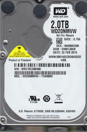 WD20NMVW-11W68S0, DCM EHMTJBKB, Western Digital 2TB USB 2.5 Hard Drive