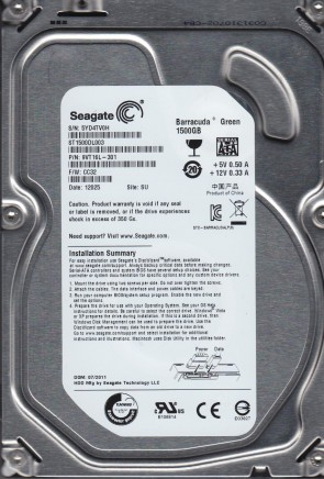 ST1500DL003, 5YD, SU, PN 9VT16L-301, FW CC32, Seagate 1.5TB SATA 3.5 Hard Drive