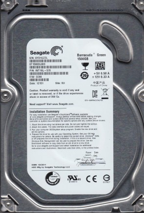 ST1500DL003, 6YD, SU, PN 9VT16L-570, FW CC98, Seagate 1.5TB SATA 3.5 Hard Drive