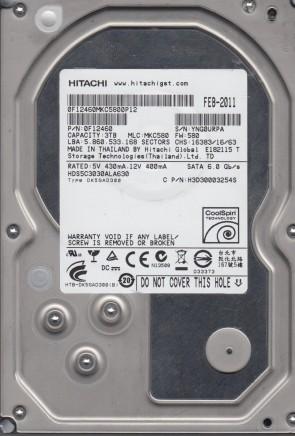 HDS5C3030ALA630, PN 0F12460, MLC MKC580, Hitachi 3TB SATA 3.5 Hard Drive