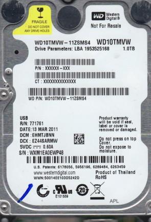 WD10TMVW-11ZSMS4, DCM EHMTJBNN, Western Digital 1TB USB 2.5 Hard Drive
