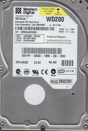 WD200BB-75CAA0, DCM HSEHNA2AA, Western Digital 20GB IDE 3.5 Hard Drive