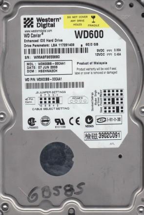 WD600BB-00CAA1, DCM HSEHNA2CH, Western Digital 60GB IDE 3.5 Hard Drive