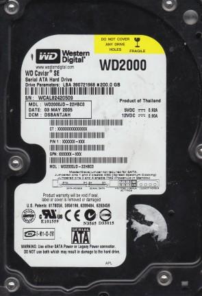 WD2000JD-22HBC0, DCM DSBANTJAH, Western Digital 200GB SATA 3.5 Hard Drive