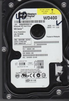 WD400BB-22JHA0, DCM ESBACTJCH, Western Digital 40GB IDE 3.5 Hard Drive