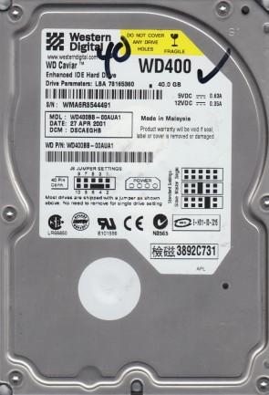 WD400BB-00AUA1, DCM DSCAEGHB, Western Digital 40GB IDE 3.5 Hard Drive
