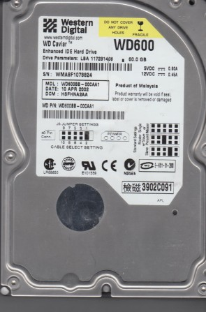 WD600BB-00CAA1, DCM HSFHNA2AA, Western Digital 60GB IDE 3.5 Hard Drive