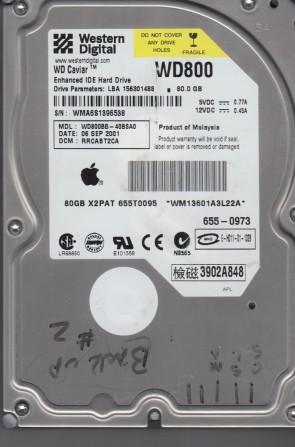 WD800BB-40BSA0, DCM RRCABT2CA, Western Digital 80GB IDE 3.5 Hard Drive
