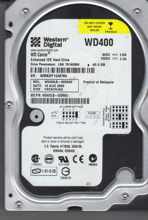 WD400LB-00DNA0, DCM HSCACVJAA, Western Digital 40GB IDE 3.5 Hard Drive
