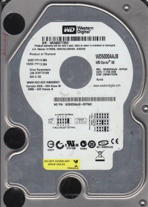 WD5000AAJB-00YRA0, DCM DBRNHT2CBN, Western Digital 500GB IDE 3.5 Hard Drive