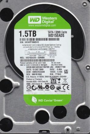 WD15EADS-32R6B0, DCM HBRCHV2ABB, Western Digital 1.5TB SATA 3.5 Hard Drive