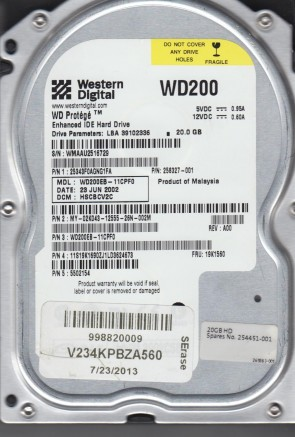 WD200EB-11CPF0, DCM HSCBCV2C, Western Digital 20GB IDE 3.5 Hard Drive