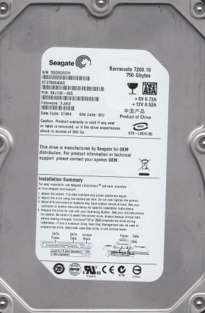 ST3750840AS, 5QD, WU, PN 9BJ138-065, FW 3.AAD, Seagate 750GB SATA 3.5 Hard Drive