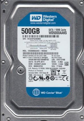 WD5000AAKS-19V0A0, DCM DGNNHTJAGN, Western Digital 500GB SATA 3.5 Hard Drive