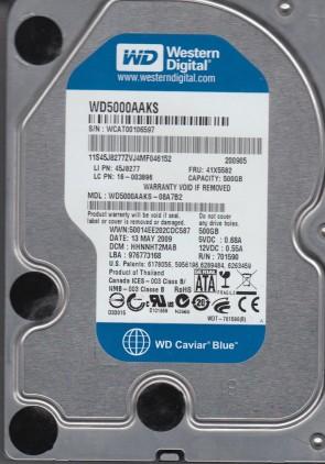 WD5000AAKS-08A7B2, DCM HHNNHT2MAB, Western Digital 500GB SATA 3.5 Hard Drive