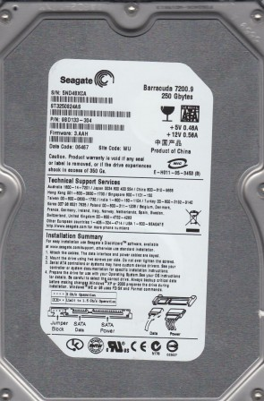 ST3250824AS, 5ND, WU, PN 9BD133-304, FW 3.AAH, Seagate 250GB SATA 3.5 Hard Drive