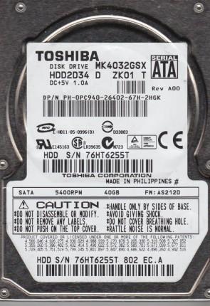 MK4032GSX, AS212D, HDD2D34 D ZK01 T, Toshiba 40GB SATA 2.5 Hard Drive