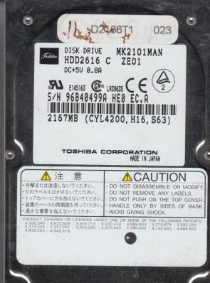 MK2101MAN, D0/B1.04A, HDD2616 C ZE01, Toshiba 2.1GB IDE 2.5 Hard Drive