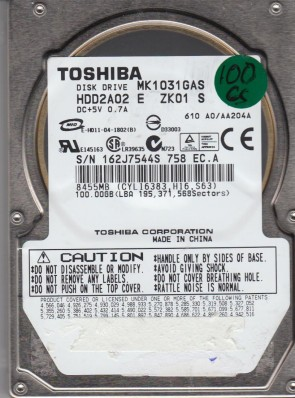 MK1031GAS, A0/AA204A, HDD2A02 E ZK01 S, Toshiba 100GB IDE 2.5 Hard Drive