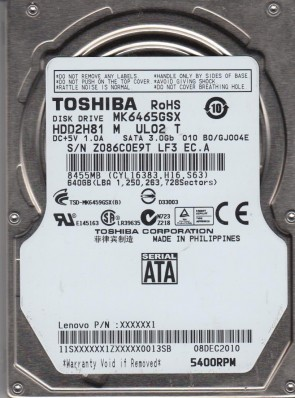 MK6465GSX, B0/GJ004E, HDD2H81 M UL02 T, Toshiba 640GB SATA 2.5 Hard Drive