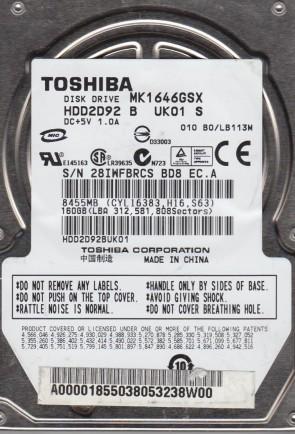 MK1646GSX, B0/LB113M, HDD2D92 B UK01 S, Toshiba 160GB SATA 2.5 Hard Drive